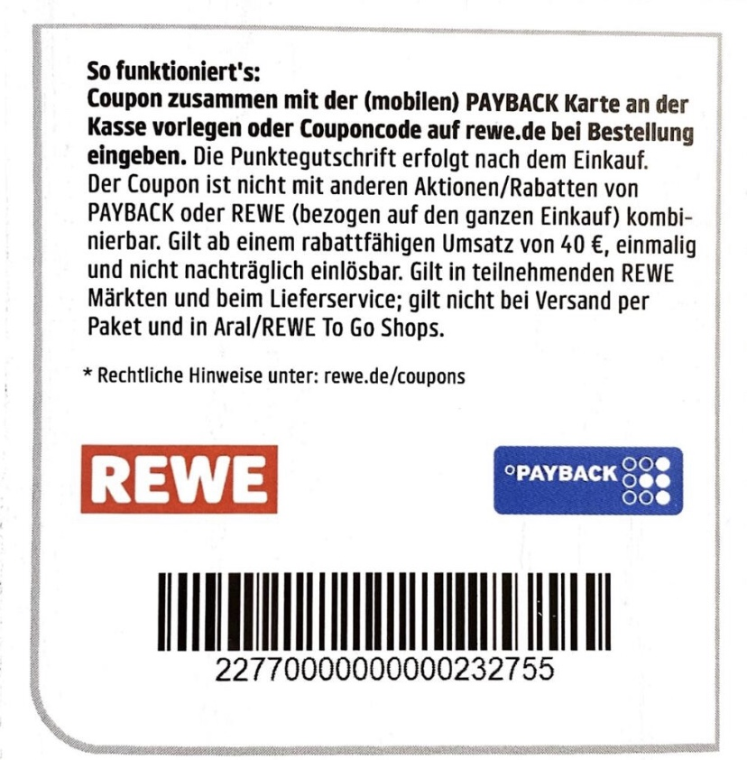 15 Fach Payback Punkte Coupon Trick REWE