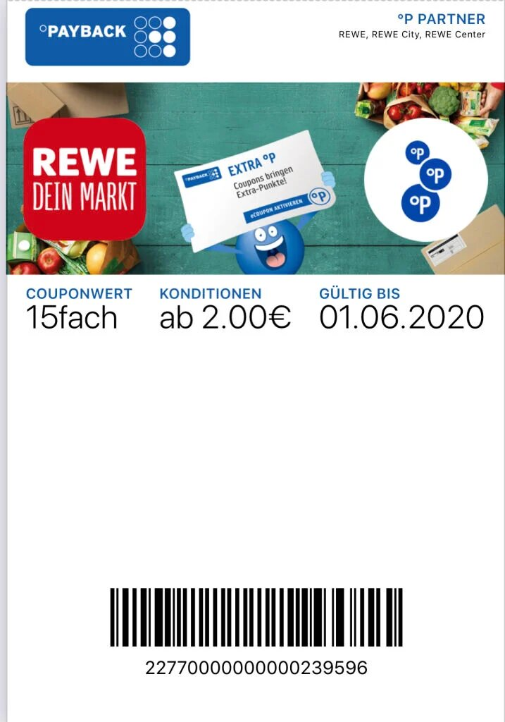 REWE 15 Fach Payback Coupon Hack